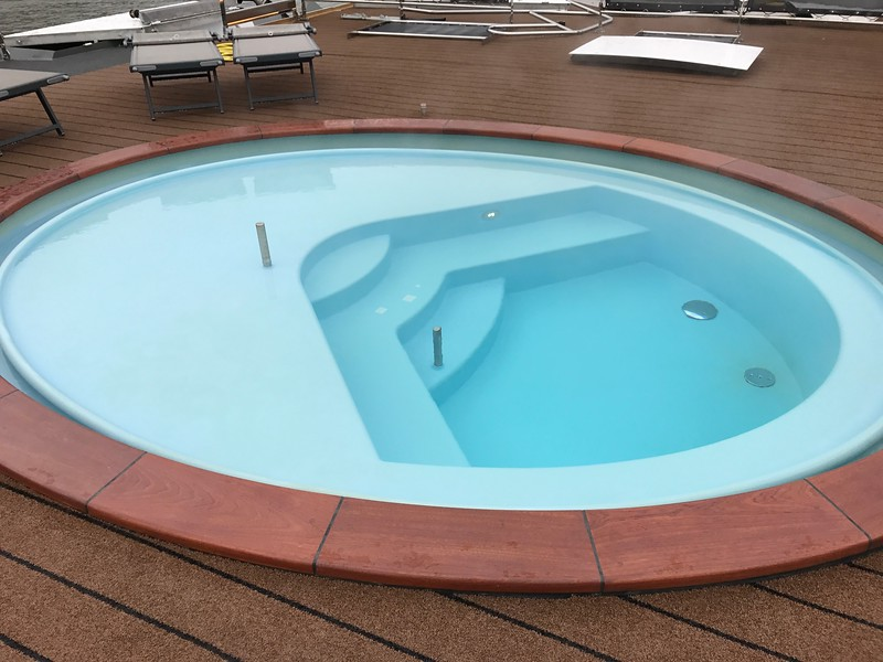 There's even a little hot tub up on the top deck if you want to soothe your muscles after a long day of touring.