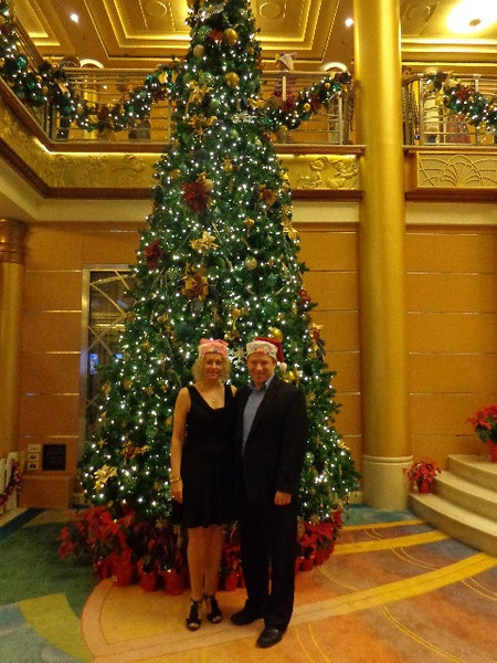 Did we mention earlier, we love Cruising around Christmas time! :-) The decorations around the ship, like this Beautiful Christmas tree, are always gorgeous!!