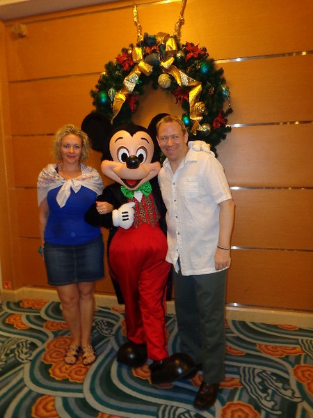 "When on a Disney Cruise the opportunity to get a pic with the Characters is definitely a FUN part of the trip... there we are saying ""Hi"" to Mickey..."