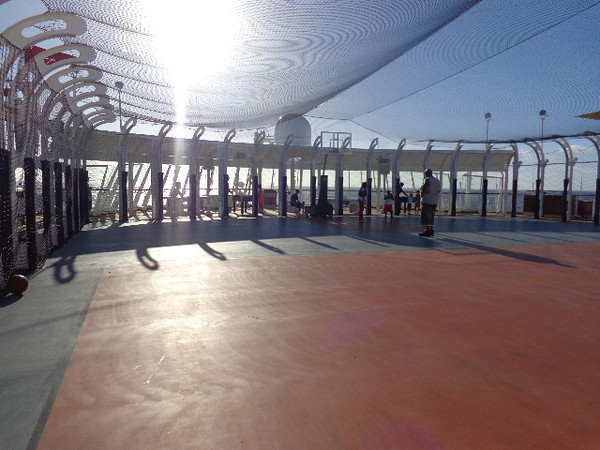 "There's a peek at ""Wide World of Sports"" on the top deck where you can play soccer, basketball, ping pong, foozball, etc. Safe to say, a popular area during a lazy sea day! :-)"