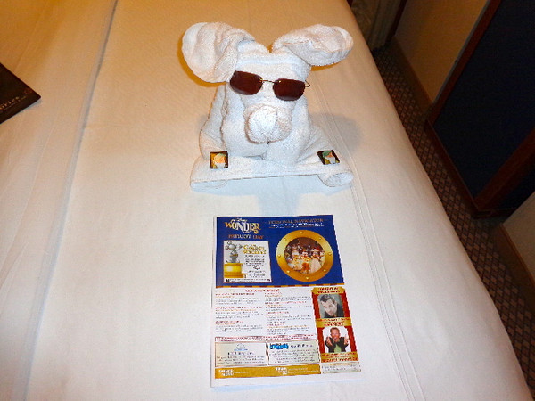 "After a great dinner & ""night out"" on the ship there's nothing better then coming back to a turned down bed, a funky towel animal, chocolates and an itinerary of all the excitement happening the next day! :-)"