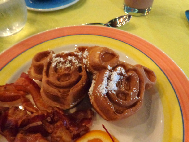 "Another huge highlight of our Cruise was the character breakfast... besides getting to hang with the characters we got to enjoy some great food like ""Mickey Waffles""... fun! :-)"