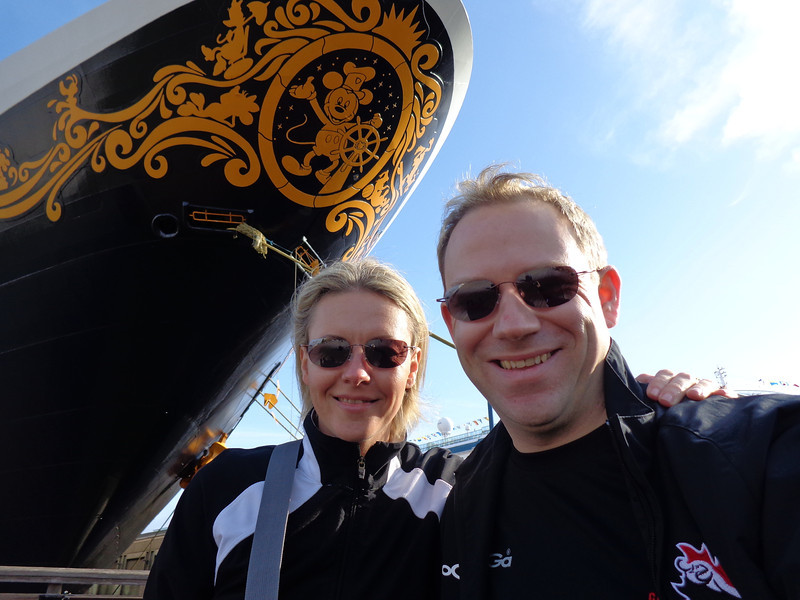 "After 2 relaxing days at Sea we hit land and enjoyed some time in San Francisco... there we are getting a pic of us at the front of the beautiful ""Disney Wonder""... what a great ship she is and no wonder as she's led by Mickey! :-)"