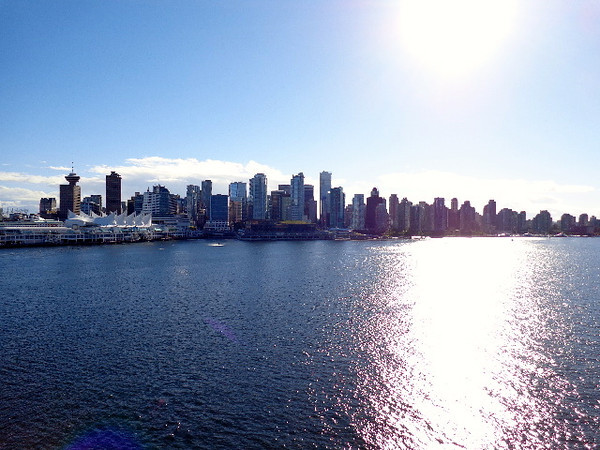 "There's a look at Vancouver's downtown skyline and Cruise port as we ""set sail"" for LA... Beautiful!"