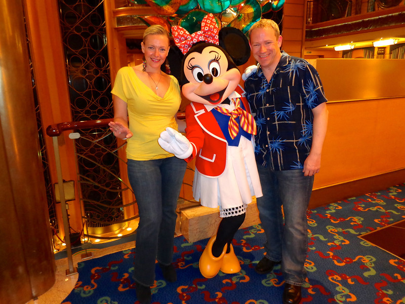 There we are saying hi to Minnie... have we told you yet how much fun it was seeing the characters all around the ship! :-)