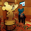 "There's Nancy checking out a life-size ""Golden Mickey"", Disney's version of the ""Academy Awards/Oscars"" that celebrates Disney's biggest hits when it comes to their many famous animated movies.<br /> <br /> You can read our full blog post review here about our amazing Cruise on the ""Disney Wonder"": <a href=""http://nancyandshawnpower.com/disney-wonder-cruise-review/"">http://nancyandshawnpower.com/disney-wonder-cruise-review/</a>"