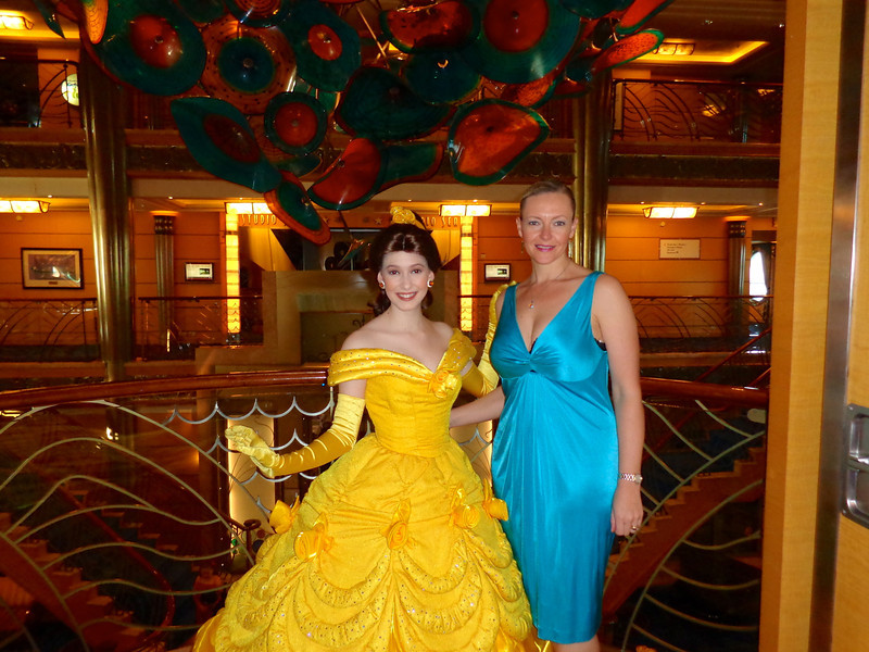 "There's Nancy getting some ""girl time"" with ""Belle"" from Beauty & the Beast. :-)"