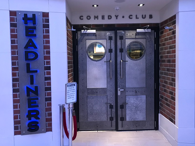 "...as well as ""Headliners"" comedy club..."