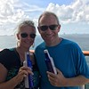 "There we are enjoying the ""Sail-away""  party from Miami... cold beer, hot weather & Family & Friends... what else do u need! :-)"