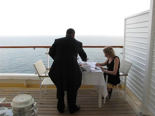 "We were so glad we treated ourselves to our first ever ""Suite"" on Cruise # 21... having our gracious Butler, Wilfred, serve us Dinner on our Balcony while Cruising the ""Med"" was an experience we'll never forget!!"