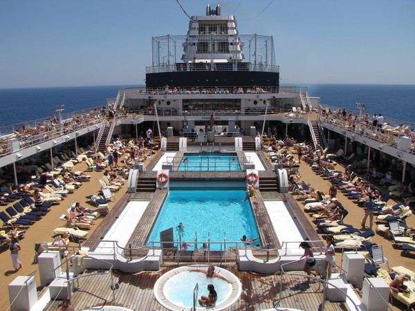 """Now that's a Beautiful site... the Mediterranean Sea, Blue Sky, Sun, a pool to cool off in or relax around... Cruising truly is the """"Good Life""""!! :-)"""