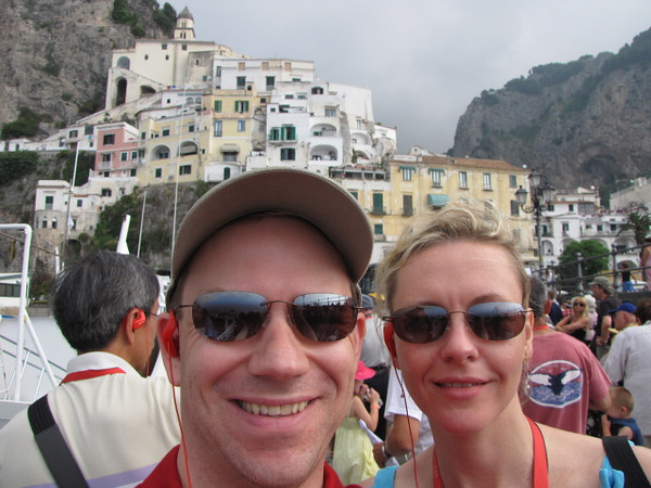Well, we made it... here we are disembarking our Boat to explore the town of Amalfi.  Hard to stop smiling with all the Beauty around!!