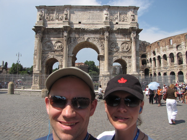 "If you've ever been to Rome you know that's the ""Arch of Constantine"" which means we're at the Famous Colosseum... exciting!!"