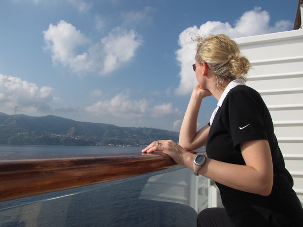 Well, it's morning # 2 on our Europe Adventure and we're making our 1st Port stop... Messina in Sicily, Italy... here's Nancy checking out the gorgeous scenery as we sail in!!