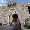 There's Nancy saying bye from Taromina as we exit this cute little town's gates... what a great day!!