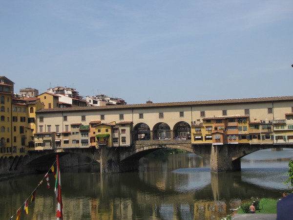 "There's the famous ""Ponte Vecchio"" Bridge over the ""Arno River"" in Florence... Famous for the Shops that line the Bridge all the way across."