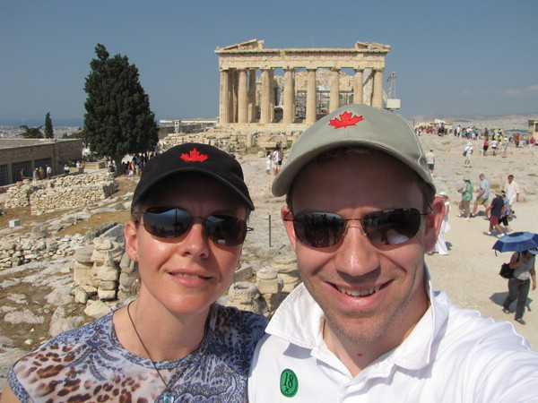 "Guess where we are??  That's right, Athens, Greece!  What gave it away? :-)  We guess it was the famous ""Parthenon"" on top of the Acropolis... a famous symbol of Athens. :-)"