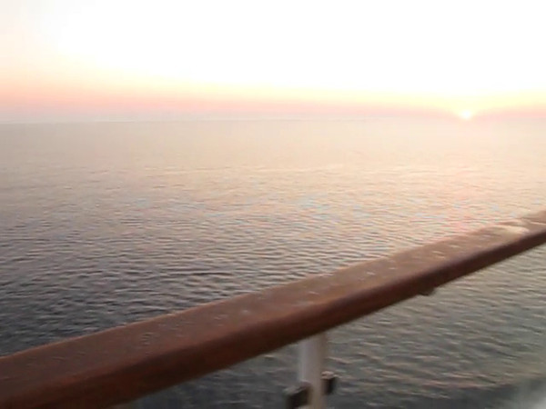 "Here's some footage of the Beautiful Sunrise we saw on our 1st morning ""at Sea""... very nice!! :-)"