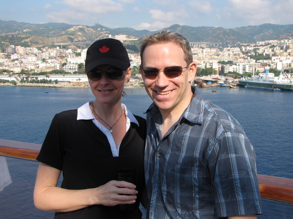 There we are with Messina, Sicily behind us