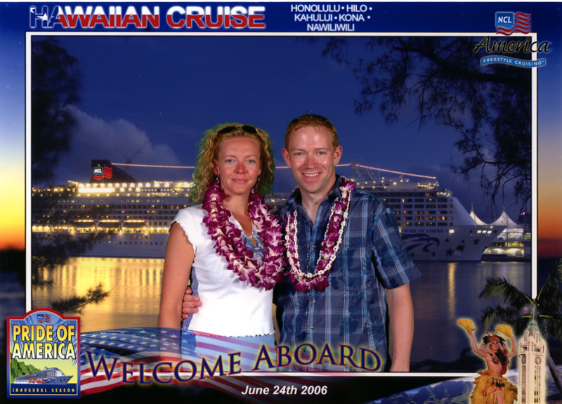 """After spending a couple of days exploring Oahu, it's time to Cruise the rest of the Hawaiian Islands... here's our embarkation picture as we board NCL's """"Pride of America"""" for our 7 day Hawaiian Cruise... can't wait! :-)"""