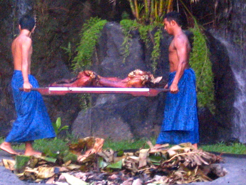 """While at the """"Polynesian Cultural Centre"""" we went to our first ever """"Luau"""" - this is a traditional, must do, Hawaiian feast that features native foods such as Poi, Kalua Pig, etc.  Yummy! :-)"""