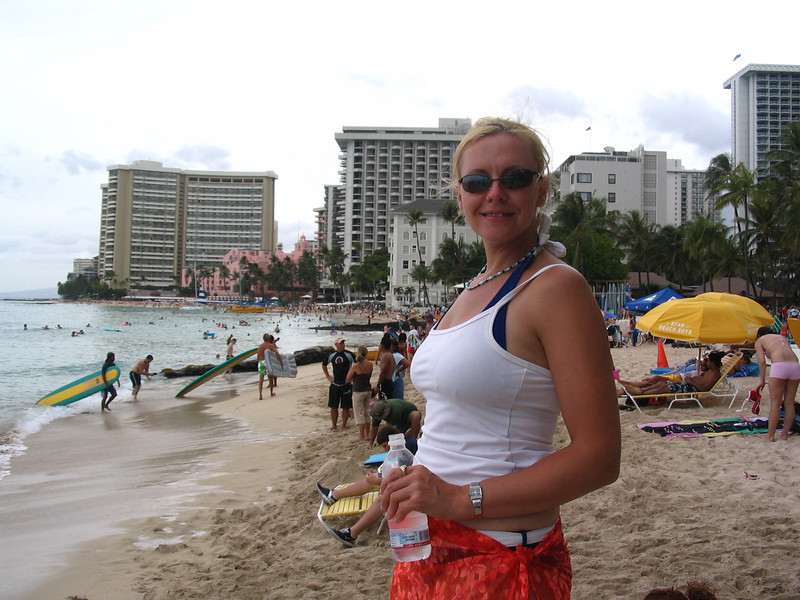 """Well, after enjoying our 7 Night Cruise around the Hawaiian Islands it was back to enjoy """"Waikiki Beach"""" for 1 more night before we headed home... there's Nancy enjoying the day at this famous beach for one last time... at least for this trip that is. :-)"""