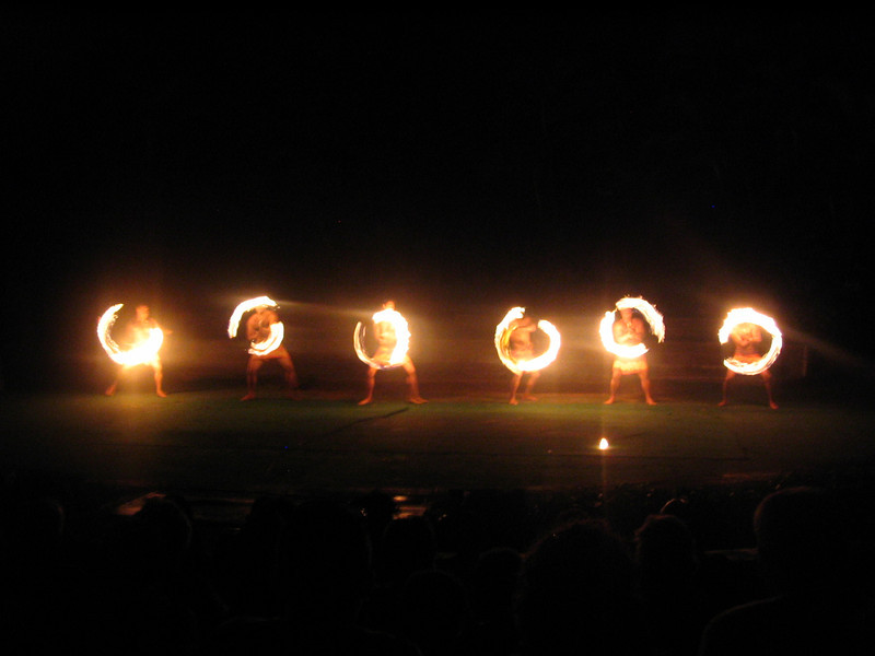 Besides being a great feast, Luaus also feature amazing shows... and the Polynesian people certainly know how to put off a show... especially when it comes to the fire dance part of it! :-)
