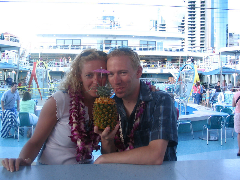 As we were in Hawaii & had just boarded an exciting Cruise, we just had to experience a really tasty drink from a Pineapple!! :-)