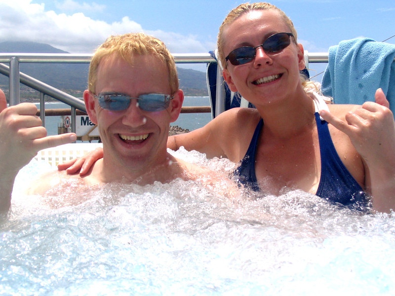 "Since we were just lazing around that day we figured it was a great time to enjoy one of the many hot tubs on board. Check out the views we had in the background.<br /> <br /> FYI, we spent a full week in Maui in 2011 enjoying the many things there is to do there... feel free to check out our blog posts of or time there at <a href=""http://nancyandshawnpower.com/category/destinations/north-america/united-states/hawaii/maui/"">http://nancyandshawnpower.com/category/destinations/north-america/united-states/hawaii/maui/</a> and get some great ideas for your next trip to Maui."
