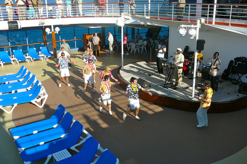 "There'' the ""Pacific Princess"" Entertainment staff getting things rolling at the ""sail-away"" party as we begin our 9 day Adventure."