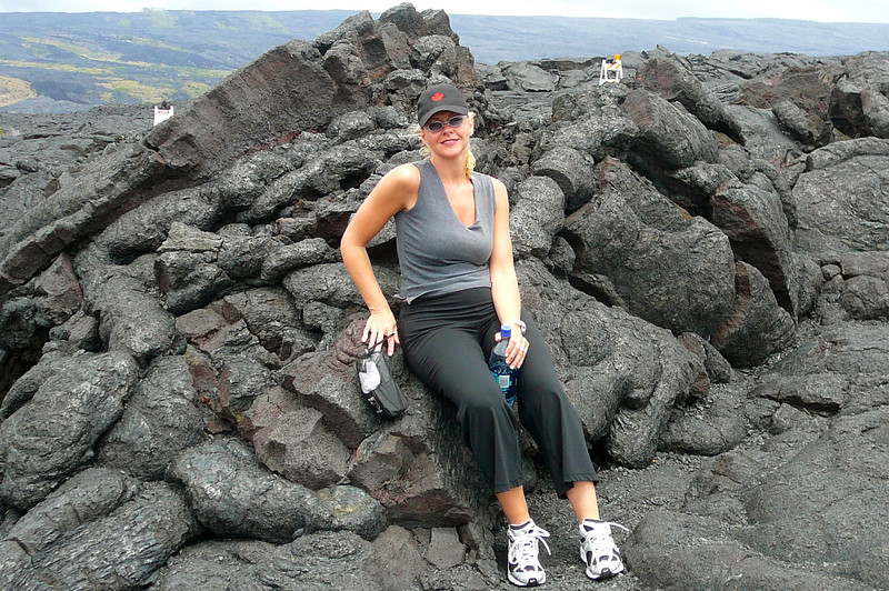 There's Nancy enjoying a little rest from our Hiking on the Big Island. As the Volcanoes are still very active there, we shouldn't sit for too long. :-)