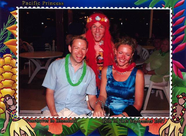 """Oh Frankie!! :-) There's """"Pacific Princess's"""" Assistant Cruise Director and us having a bit of fun during our """"Island Night"""" party!!"""