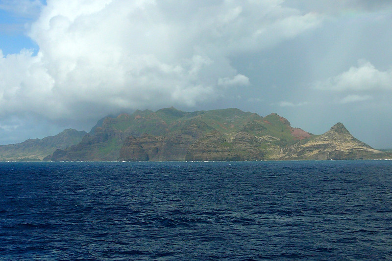 """Here we are approaching the Island of """"Kauai"""" on day # 8 of our Journey. Not hard to tell """"Jurassic Park"""" was filmed here... looks like a scene or 2 from the Movie. :-)"""