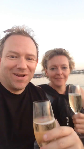 And as AMA does everything in such a 1st class way they didn't disappoint here when they had their staff come out in a separate boat to deliver Champagne to the 20+ boats their guests were in... for sure they made us feel pretty special that evening! :-)