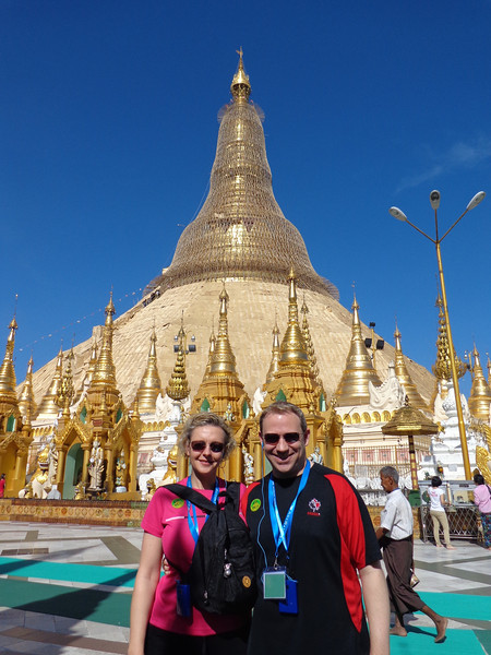 "Alright, now that we showed you around the AmaPura it's time to show you around the Country of Myanmar... here we are in Yangon at the ""Shwedagon Pagoda"", one of the most important religious sites in all of Myanmar."