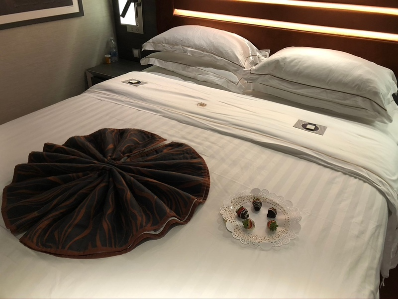 """In the evenings we got the occasional treat as well!! :-)<br /> <br /> And for those of you who haven't Cruised in a while on a big ship, chocolates on the pillows at night have become non-existant on many lines as well unless you're in a Suite!<br /> <br /> Same with Room Service... what used to be such a treat on big ship Cruises (it was literally one of our FAVORITE things when we first started Cruising!) has also become an extra expense... in the """"Yacht Club"""" though our Room Service menu did NOT come with any charges!!"""