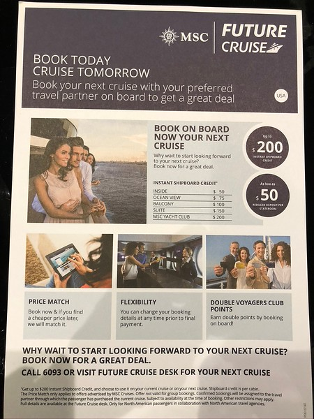 "Even something as simply as the ""Future Cruise"" consultants... as you've probably heard us say before, if you know you're going to do another Cruise with the line you're currently sailing on... BOOK ONBOARD! <br /> <br /> That way, you'll get access to exclusive perks (like in the pic above) that you can only get onboard PLUS you'll get our agency's perks (as mentioned here <a href=""https://www.nancyandshawnpower.com/why-book-your-cruise-with-shawn-power/"">https://www.nancyandshawnpower.com/why-book-your-cruise-with-shawn-power/</a> we can get you things the Cruiseline can't) so it's truly the best of both Worlds!<br /> <br /> Anyways, as LOTS of people book onboard the ""Future Cruise"" consultants can be very busy... it's nothing to have to sit around an hour waiting to see one. <br /> <br /> But in the ""Yacht Club"", they came to us... for 1-2 hours each day they were in our private ""Top Sail"" Lounge ready to chat about any future sailings you were interested in!"