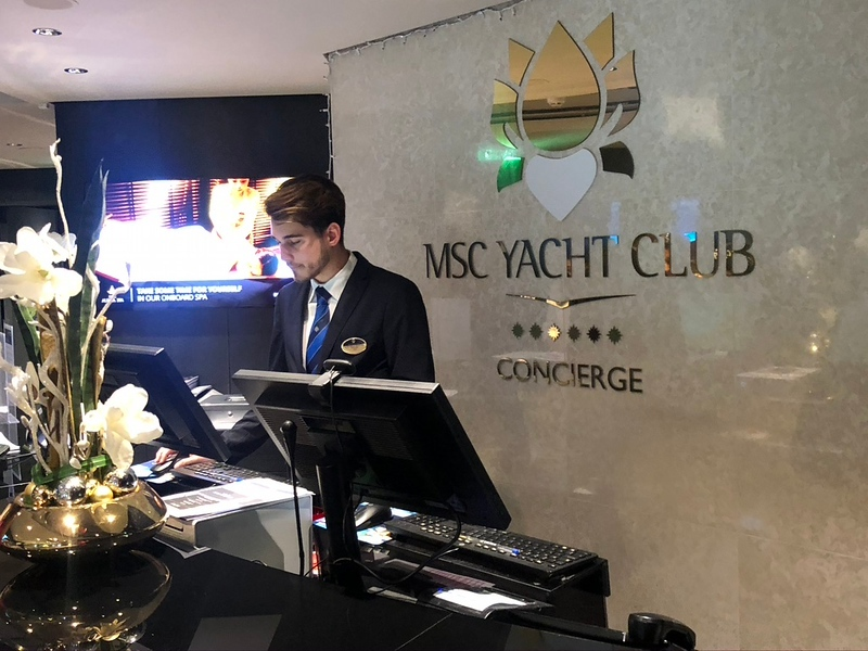 You'll have access to a knowledgeable & friendly Concierge 24/7 (during day-time hours there were usually 2-3 at the desk!) who seems like they were born to make you happy! :-)<br /> <br /> Seriously, between them & your Butler everything you need to do onboard is covered... specialty restaurant reservations, spa reservations, shore excursions, questions about your onboard account, etc.<br /> <br /> FYI, the last one was a BIG deal on this ship... every-time we passed the main reception desk in the atrium on the ship there was always 20-40 people in line... NO KIDDING!! We'd be there watching music, etc. and noticed people not even moving 1/2 way through the line after 20mins... it did NOT look like fun!! :-(<br /> <br /> So, to be able to go see our Concierge in our private area anytime was truly a blessing!!