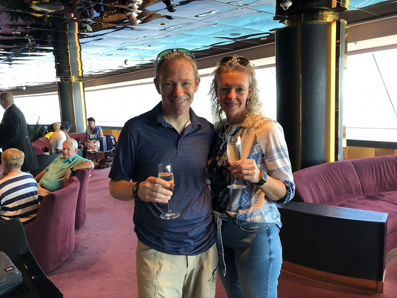 "Okay, let's give you a taste of a few more highlights/experiences you'll get as a ""Yacht Club"" guest on MSC Cruises compared to what it's like for your other 4,000-5,000 friends onboard.<br /> <br /> As soon as you board the ship (speaking of boarding, they literally sent Butlers down to security at the port to make sure we were the first ones through screening and to take us to our private lounge/check-in area and then they escorted us on the ship before all other guests!) they'll whisk you up to your Private ""Top Sail"" lounge to meet some of the attentive staff you'll see throughout the week, to have a Welcome drink, etc.<br /> <br /> And these aren't ""Welcome"" drinks like you normally get on a big ship where they seem like they're free as the happy staff members hand them to you but then they ask you for your room card so they can charge you... yes, that happened to us on Cruise # 1 when we didn't know better. When we saw the price of that drink in a Souvenir glass though we never made that mistake again!! :-("