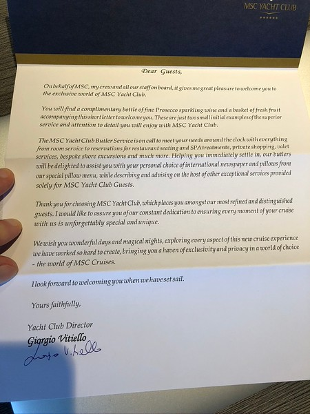 """As the """"Yacht Club"""" Director expressed in this """"Welcome"""" letter to us this exclusive area of the ship is ALL about enjoying an exclusive/first class experience (which simply makes your Cruise WAAAY better!) and they definitely delivered as promised!!"""
