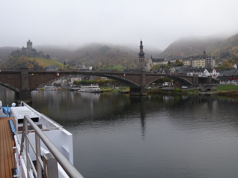Here's a picture of Cochem from the top deck of our ship which shows why we love River Cruising... look how close you can get to a town like this... we love our Ocean Cruises too but access like this is impossible with ships with 1,000s onboard.