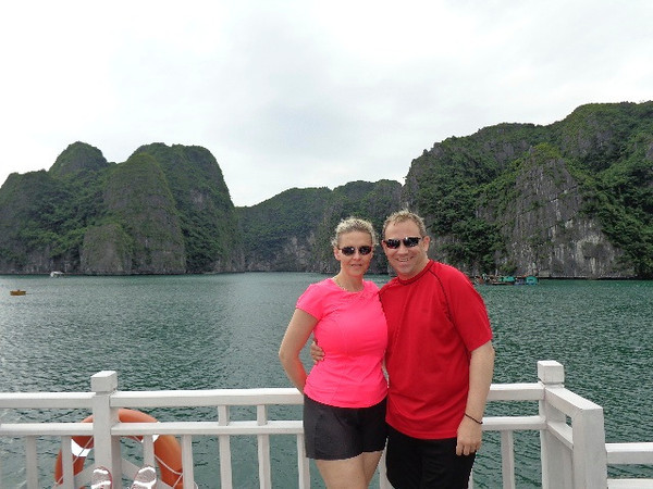 Every minute or two when in Halong Bay you want to snap a picture to capture the Beauty... what do you think, do we look like we're enjoying it there? :-)