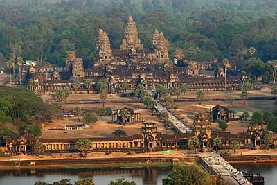 There's an overhead shot of Angkor Wat... for sure what surprised us was the height of the complex. You can climb up some of the spheres & the sites from there were something else. How something like this could have been built in the early 12th Century is beyond us!