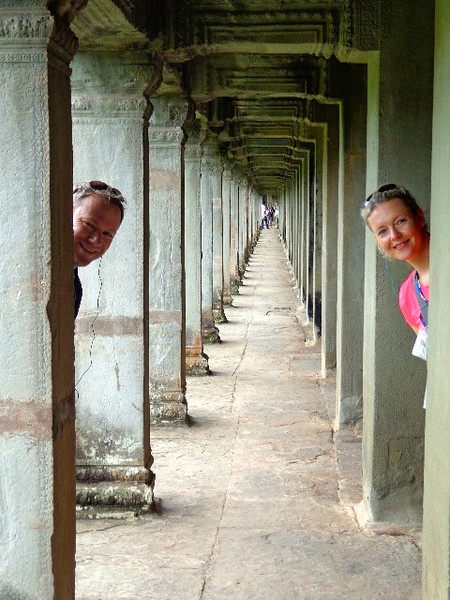 There we are having a little fun while checking out some of the halls that surround the Temple! :-)