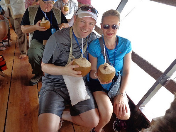 We mentioned earlier while on our tours we always got some great treats... there we are enjoying some fresh coconuts, yummy! :-)
