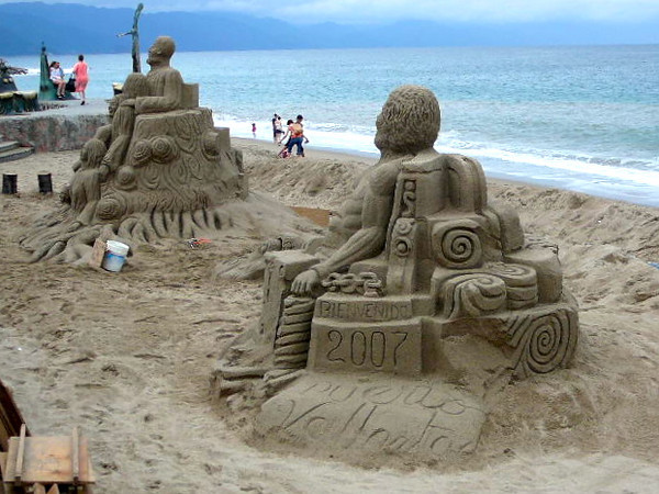 """After our Catamaran & Snorkeling excursion we did a little walk along Puerto Vallarta's Boardwalk... check out those Sand Castles, or should we say """"Sand Works of Art"""" that the locals build there daily!!"""