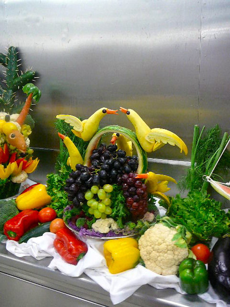 """Part of the cooking show was getting to do a """"Galley Tour"""" afterwards... check out some of the creations we saw the staff preparing... hard to believe that's all fruits & veggies!"""