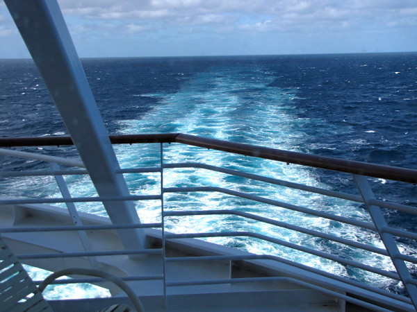 """One of our favorite sites to wake up to in the Morning... the """"Wake"""" of the Ocean from our Private Balcony. Now that's Cruising!! :-)"""