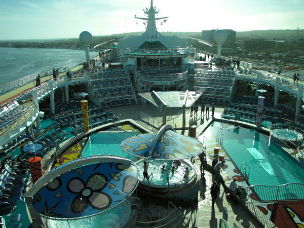 "There's what the Pool area on the ""Mariner"" looks like from the ""Viking Crown Lounge"". As you can see... this is one very Beautiful Ship!! :-)"
