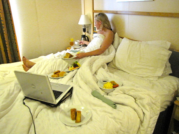 """Remember earlier we mentioned we treated ourselves to a """"Romance"""" Package... here's the Breakfast in bed it came with... 6 plates of food got delivered that morning... now that's we we call a """"great way"""" to start the day!! :-)"""